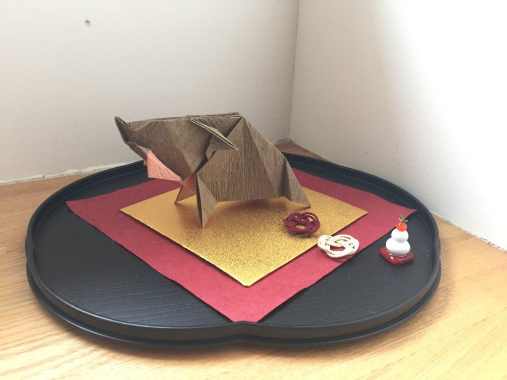 折り紙で作った猪